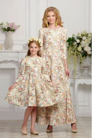 Flower print mommy & daughter dressess