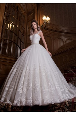 illusion neckline wedding gown