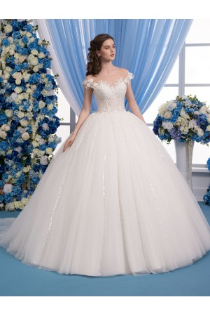 Illusion Neckline Ball Gown Wedding Dress