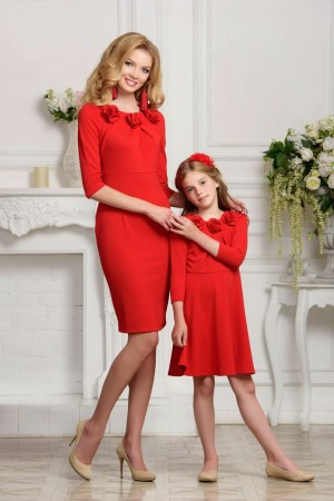 Red knitted dress 3/4 sleeves mother daughter dress