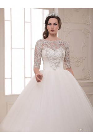 White 3/4 Sleeve Wedding Dress