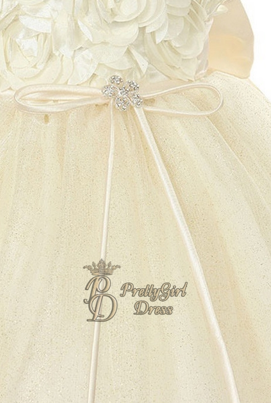 Girls White Rosette Tulle Dress