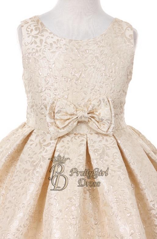 74eb106f4 Champagne High Quality Golden Broché Flower Girl Dress - Elegy