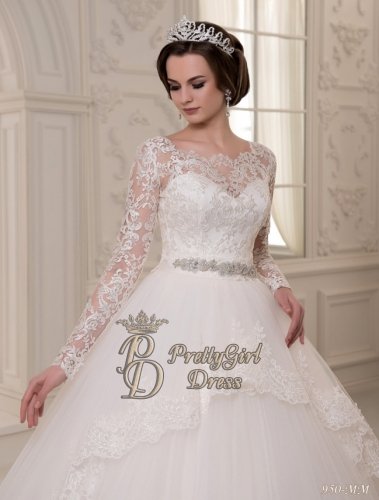 Lace Sleeve Wedding Dress / Train Wedding Dress