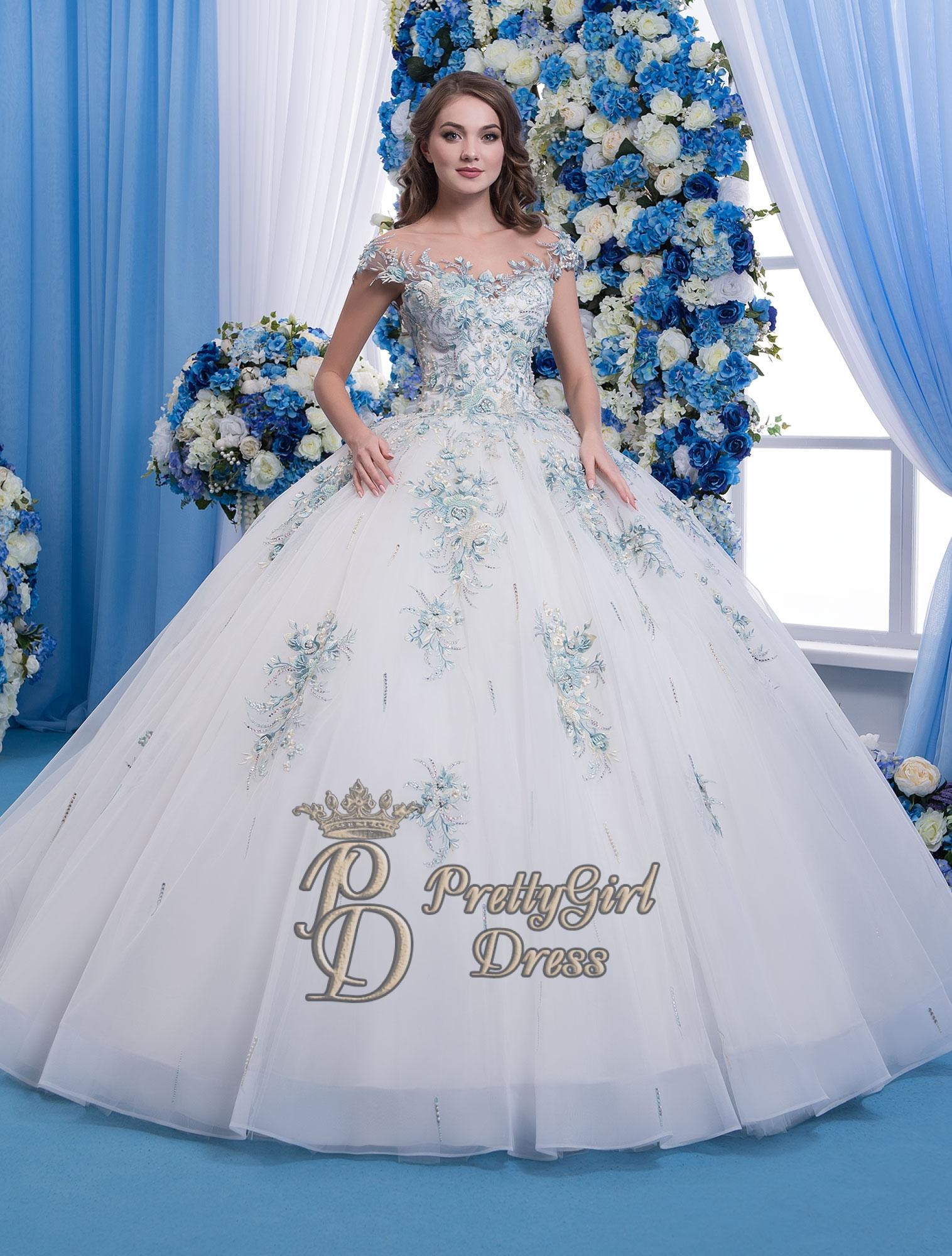 Vintage embroidered lace wedding dress cornflower