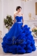 Royal Blue Strapless Luxury Ruffles Dress