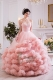 Blush Strapless Luxury Ruffles Dress