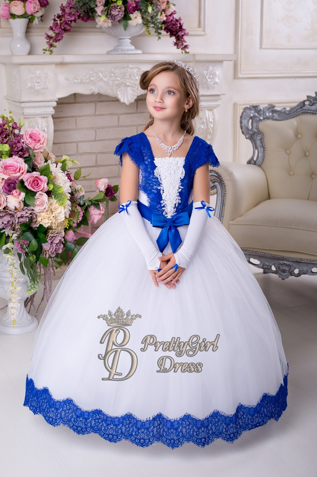 White Royal Blue Vintage Lace Flower Girl Dress