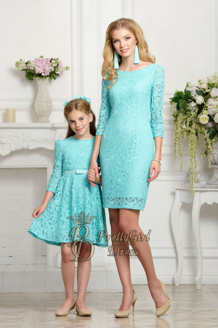 2d748e6c4e1 Tap to expand · Mommy   daughter matching outfits Aqua Lace 3 4 sleeves  mother daughter dress