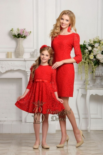 Mommy & daughter dresses Red Lace 3/4 sleeves mother daughter dress
