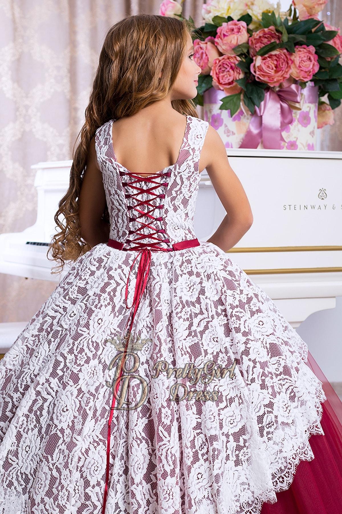 Wine Tulle Flower Girl Dresses Theresa