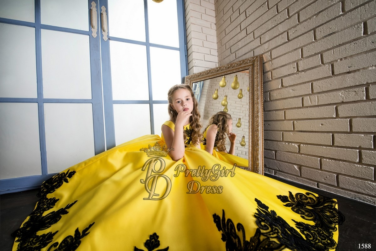 Yellow Lace Flower Girl Dress